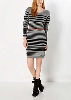 Belted Gray Striped Sweater Dress