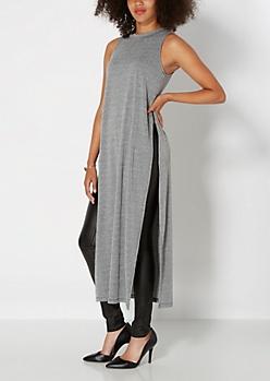 Black Extreme Split Seam Maxi Dress