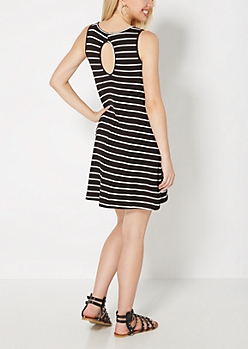 Black Striped Keyhole Swing Dress
