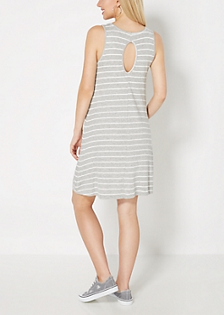 Gray Striped Keyhole Swing Dress