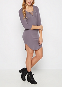 Gray Lace-Up Neckline Knit Dress
