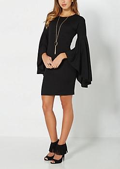 Black Angel Sleeved Bodycon Dress