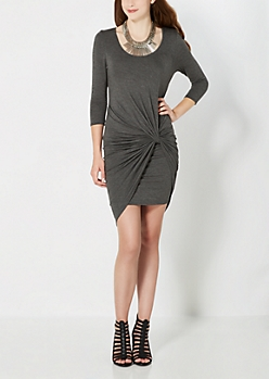 Charcoal Grey Knotted & Wrapped Dress