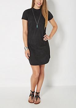 Black Faux Suede Mini Dress