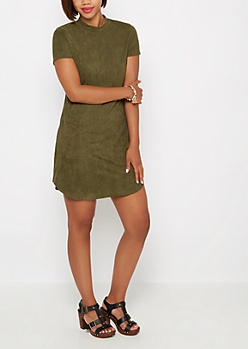Olive Faux Suede Mini Dress