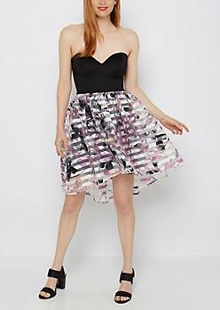 Floral Striped Organza Tube Dress
