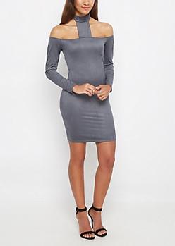 Faux Suede T-Strap Bodycon Dress