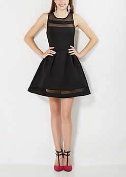 Black Mesh Trimmed Skater Dress