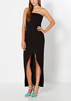 Black Draped Strapless Tulip Dress