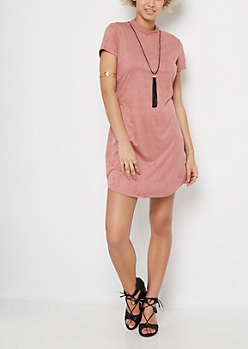Pink Mock Neck Faux Suede Dress & Necklace