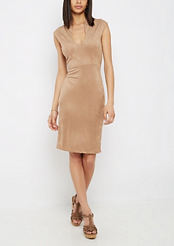 Taupe Faux Suede Bodycon Dress