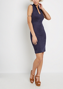 Navy Faux Suede Bodycon Dress
