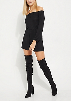 Black Pleated Off Shoulder Romper