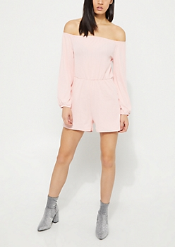 Pink Pleated Off Shoulder Romper