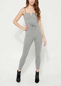 Heather Gray Corset Cami Jumpsuit
