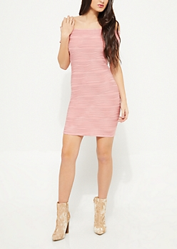 Pink Off Shoulder Cap Sleeve Ruffle Bodycon Dress