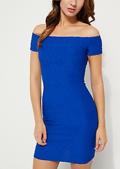 Royal Blue Off Shoulder Twisted Bodycon Dress