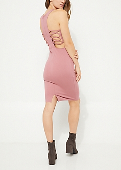 Pink Caged Back Bodycon Dress