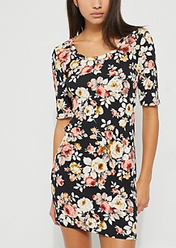 Black Floral Cage Strap Bodycon Dress