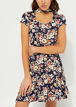Floral Cutout Skater Dress