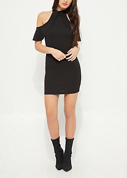 Black Cold Shoulder Ruffle Bodycon Dress