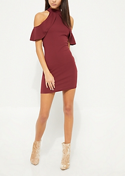 Dark Purple Cold Shoulder Ruffle Bodycon Dress