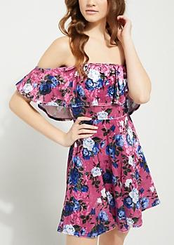 Pink Floral Off Shoulder Flounce Skater Dress