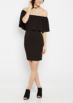 Black Crepe Flounce Off-Shoulder Dress