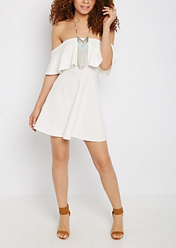 White Flounce Skater Dress
