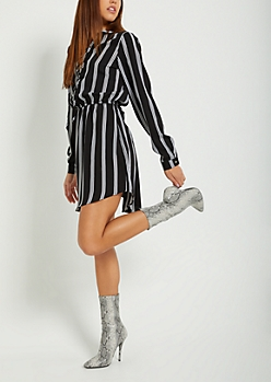Striped Lace Up Shirt Dress