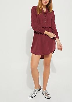 Burgundy Lace Up Shirt Dress
