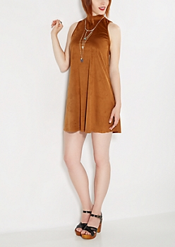 Brown Suede Shift Dress