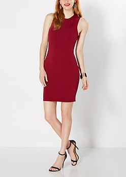 Burgundy Ottoman Knit Bodycon Dress