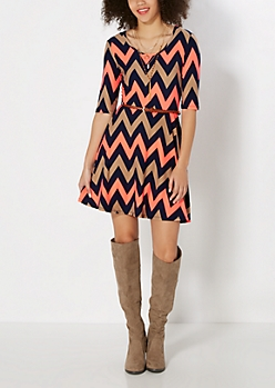 Brushed Neon Chevron Skater Dress