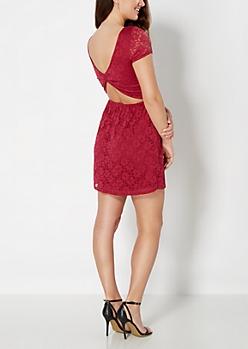 Burgundy Floral Crochet Skater Dress