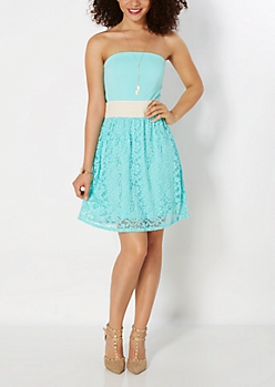 Turquoise Lace Smocked Sundress
