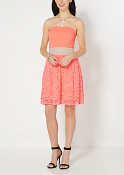 Neon Orange Lace Smocked Sundress