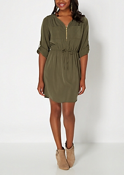 Green Pocketed Equipment Dress