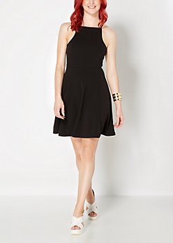 Black High Neck Mini Skater Dress