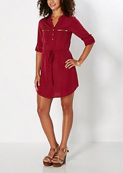 Gold Zip Accent Burgundy Shirt Dress