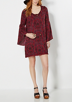 Burgundy Bohemian Shift Dress