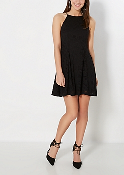 Black Crochet High Neck Skater Dress