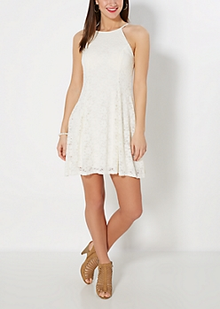 Ivory Crochet High Neck Skater Dress