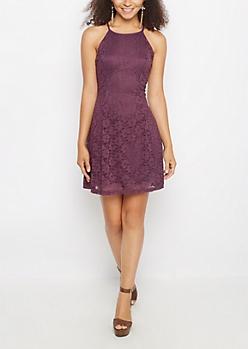 Purple Crochet High Neck Skater Dress