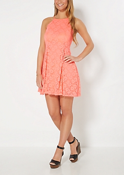 Coral Crochet High Neck Skater Dress