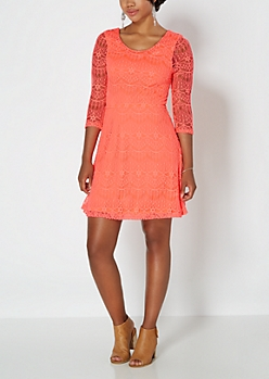 Neon Orange Lace Promenade Dress