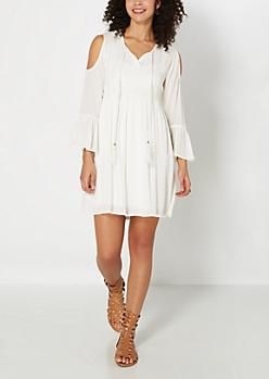 Ivory Cold Shoulder Babydoll Dress