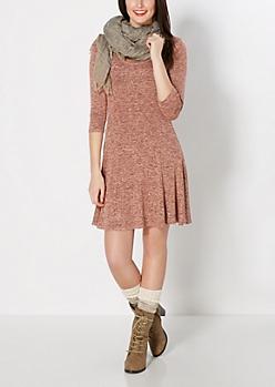 Peach Marled Hacci Skater Dress