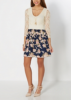 Pink Rose Smocked Lace Dress