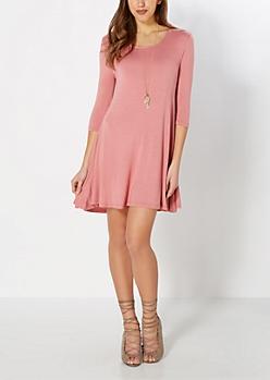 Dusty Pink Knit Tent Dress